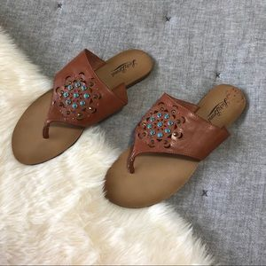 Lucky brand jeweled thong sandals sz.9